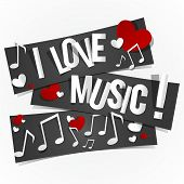 foto of heart sounds  - I Love Music Banners With Hearts And Notes vector illustration - JPG