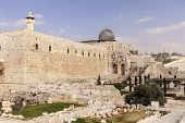 stock photo of aqsa  - The walls of the Temple Mount in the Old City of Jerusalem in Isreal - JPG