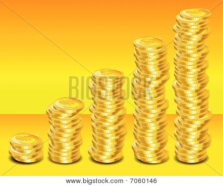 Gold coins step