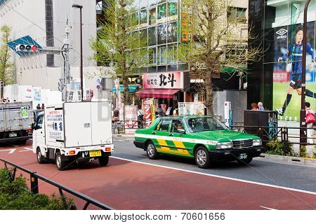 Traffic jam on the main crossroad of Harajuku
