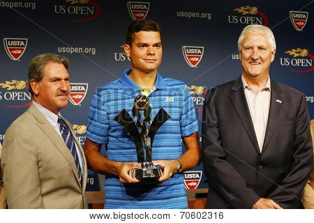 Professional tennis player Milos Raonic during 2014 Emirates Airline US Open Series trophy presentat