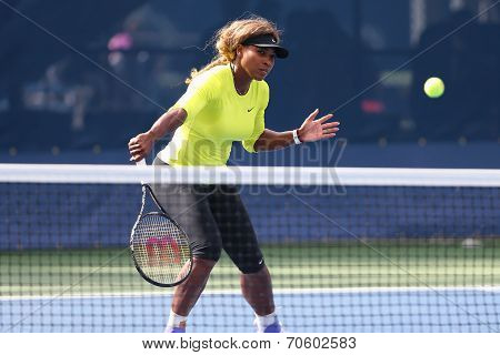 Grand Slam champion Serena Williams practices for US Open 2014