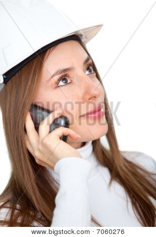 Female Engineer On The Phone