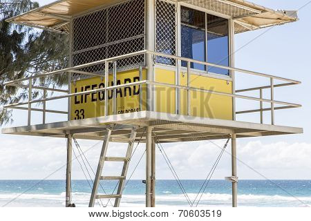 Gold Coast Australia life guard hut 33 closeup