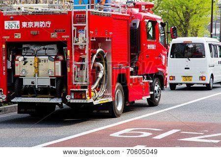 Fire engine on harajuku street