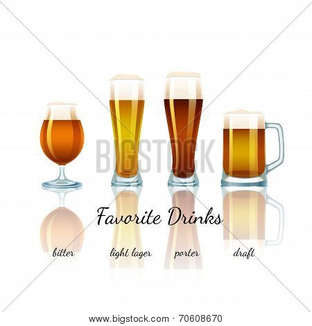 Favorite beer set, isolated