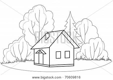 House and trees, contours