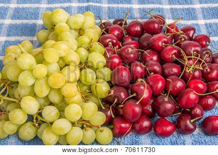 Green Grapes And Red Cherries