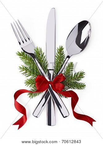 Spoon, Fork And Knife As Christmas Symbol Celebration