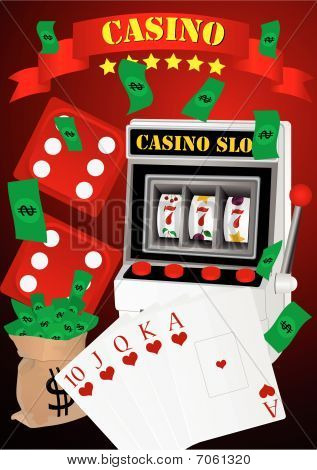 Gambling illustration with casino elements