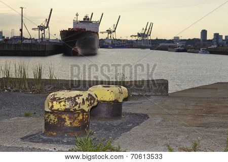Hamburg - Old Bollards At The Ellerholz Port