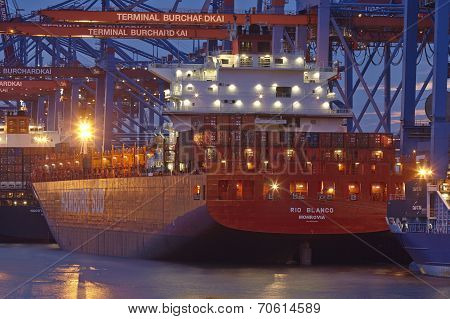 Hamburg - Container Vessel Loaded And Unloaded At Terminal