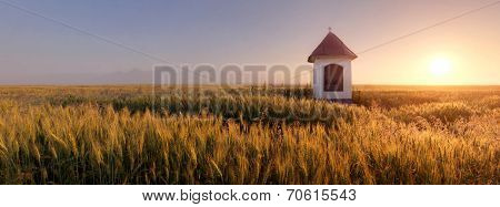 Slovakia Countryside With Chapel - Panorama