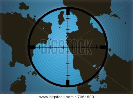 Cross hairs on world map