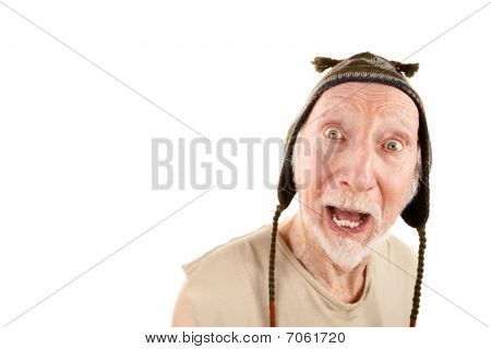 Senior Man In Knit Cap