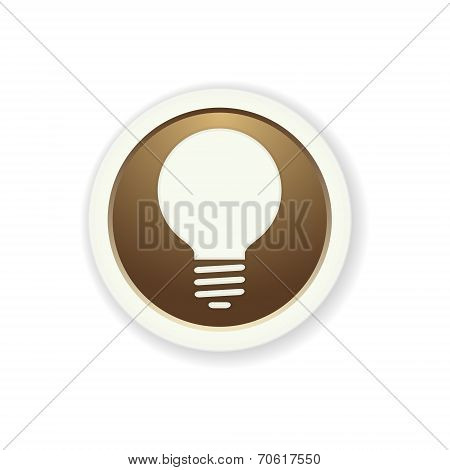 The Brown Glossy Circle Button With Bulb Pictogram