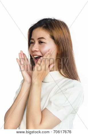 Asian Woman In  Gesturing A Verbal Call.