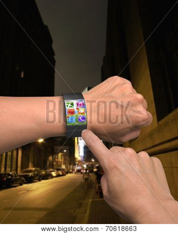 Hand Wearing Ultra-thin Curved-screen Smart Watch With Apps
