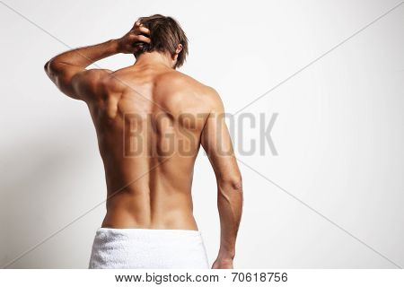 Perfect Fit Man From The Back In White Towel
