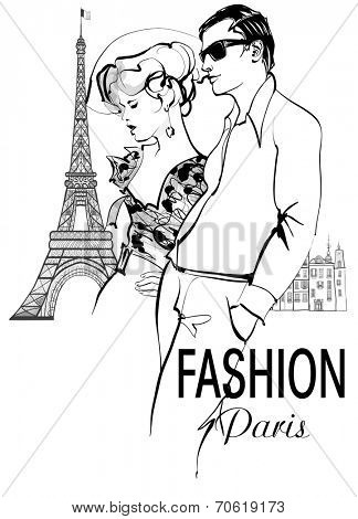 Fashionable couple strolling and shopping in Paris - vector illustration