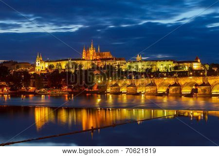 skyline of Prague with Vitus cathedral and Charles bridge