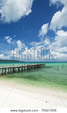 Sok San Pier On Long Beach In Koh Rong Island Cambodia