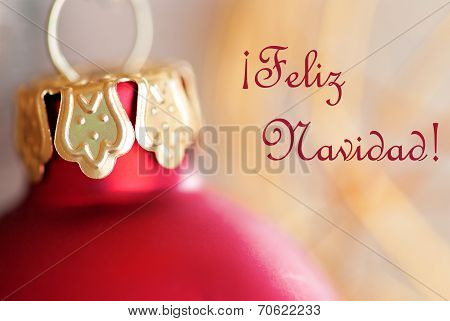 Christmas Ball Decoration With Feliz Navidad