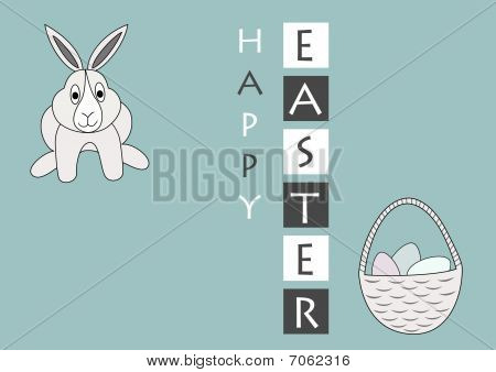 Vector easter greeting card with bunny and eggs in  basket