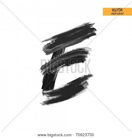 art sketched stylized ink doodle alphabet in vector, black grungy font, uppercase letter E