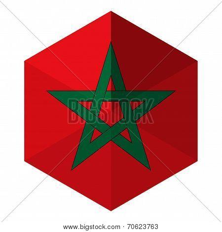 Morocco Flag Hexagon Flat Icon Button