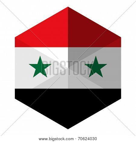 Syria Flag Hexagon Flat Icon Button
