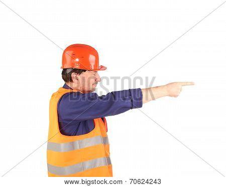 Worker in reflective coat.