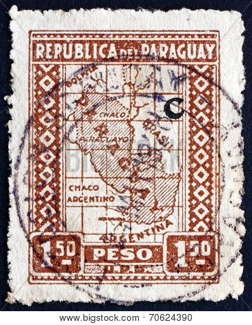 Postage Stamp Paraguay 1927 Map Of Paraguay