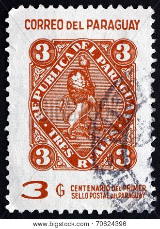Postage Stamp Paraguay 1970 Vigilant Lion Supporting Liberty Cap