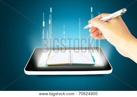 Black Tablet Pc With Hands And Book On Blue Background