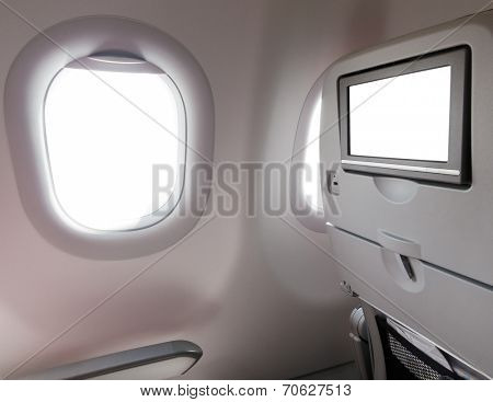 Airplane window seat with LCD screen