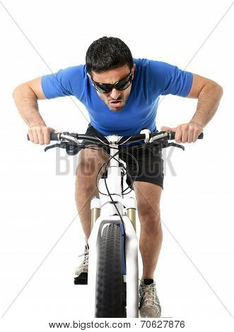 Sport Man Riding Bike Training Hard On Sprint In Fitness And Competition