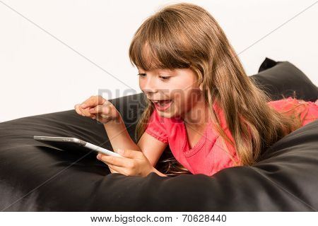 Happy Girl With Tablet