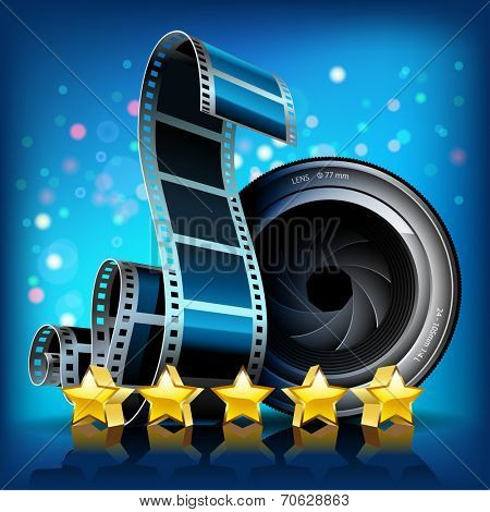 Film, stars and camera lens on blue background. Vector Illustration.
