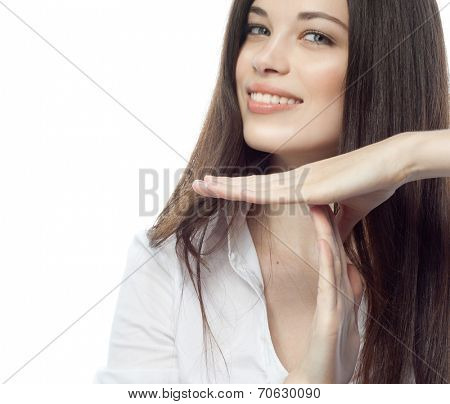 closeup portrait of attractive  caucasian smiling woman brunette isolated on white studio shot lips toothy smile face hair head and shoulders looking at camera tooth businesswoman time out