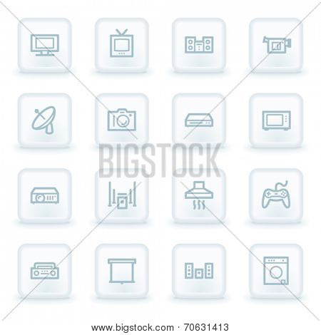 Home Appliance web icons, white square buttons