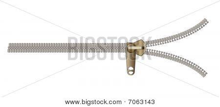 Unbuttoned Vector Zipper on a homogeneous background