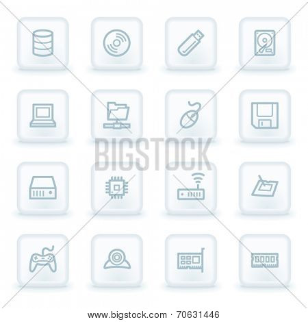 Computer components web icon set 1, white square buttons