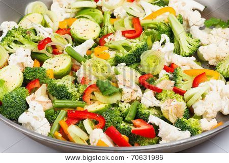 Pan  With Vegetable Sliced