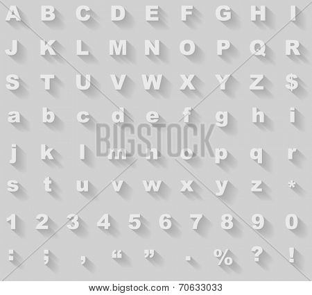 White diagonal long shadow styled alphabet vector template.