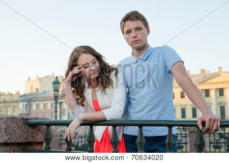 Young Couple Quarrel Outdoor.