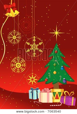 Christmas background with presents and christmas tree