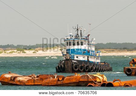 Construction Ships In Oregon Inlet Outer Banks
