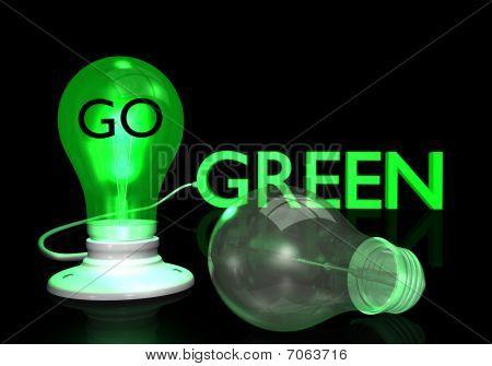 Vá de bulbos de luz verde