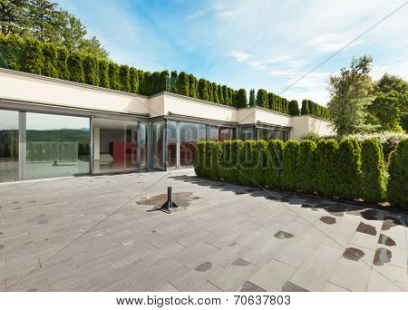 modern house with garden, external, view from patio